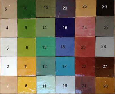 Palette de couleurs de nos zelliges - Charme & Parquet
